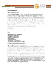 Newsletter Oktober 2011 Liebe Leserinnen und ... - ASA-Programm