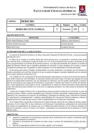 Derecho Civil Familia - Universidad Catolica de Salta