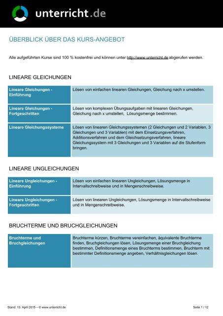 Lineare Funktionen - unterricht.de