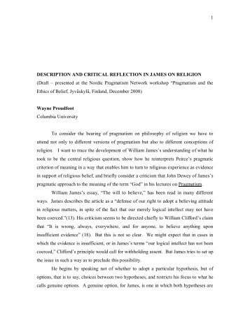 Description and Critical Reflection in James on Religion - Nordic ...