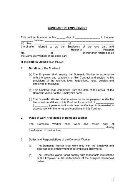 Contract Of Employment Malaysia My Second Home