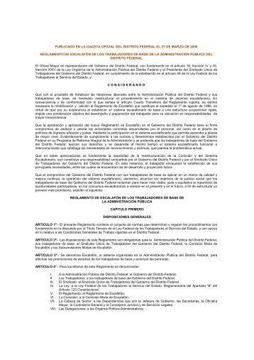 Reglamento - Contraloría General - Gobierno del Distrito Federal