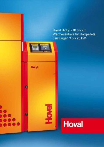 Hoval BioLyt (10 bis 26) Wärmezentrale für Holzpellets. Leistungen ...