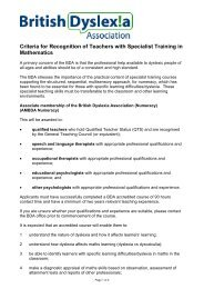 Criteria for Recognition of Teachers with Specialist Training in ...