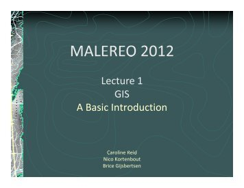 1. GIS - A Basic Introduction - Malareo