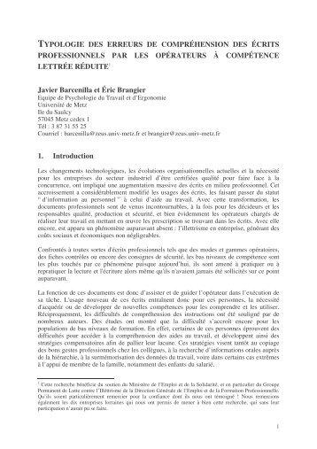 TYPOLOGIE DES ERREURS DE COMPRÉHENSION DES ÉCRITS ...