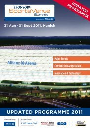 UPDATED PROGRAMME 2011 - SPONSORs Sports Venue Summit