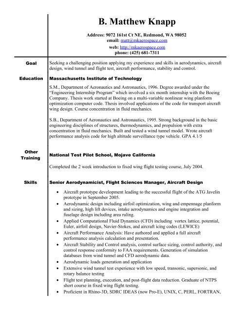 Aero/Astro Resume for B  Matthew Knapp - MK AEROSPACE Inc