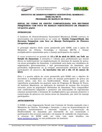 edital - Instituto de Desenvolvimento Sustentável Mamirauá