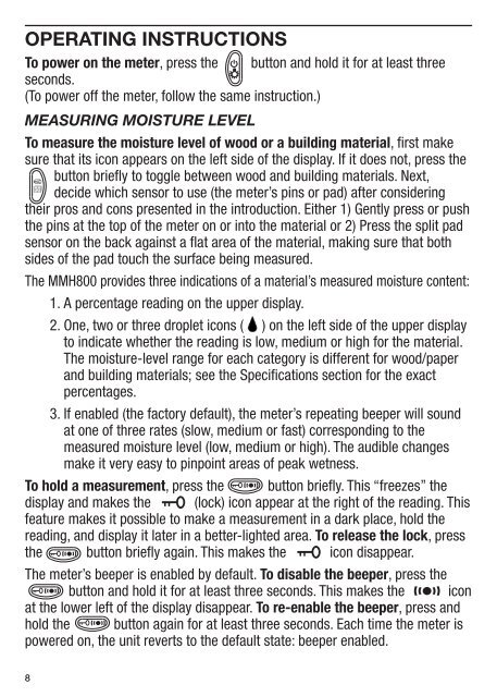 4-in-1 pin/pad rh moisture meter mmh800 - General Tools And ...