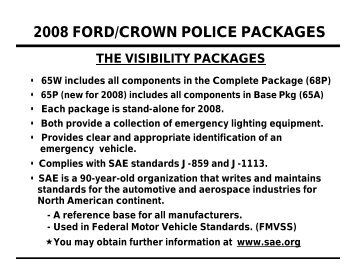 2008 FORD/CROWN POLICE PACKAGES - Crown North America