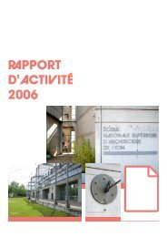 rpport d'activité 2006 - École Nationale Supérieure d'Architecture de ...