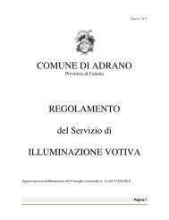 Regolamento servizio di illuminazione votiva - Comune di Adrano