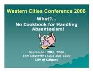 Presentation - Western Cities Conference