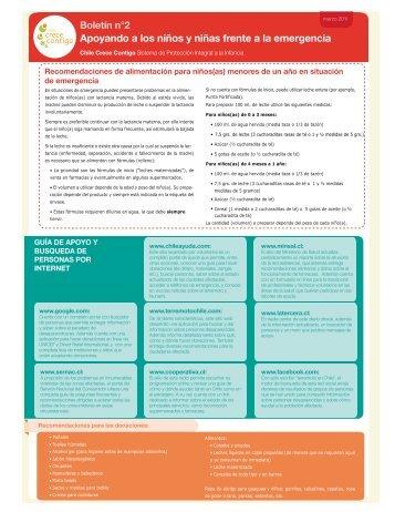Boletín de emergencia número 2 - Chile Crece Contigo