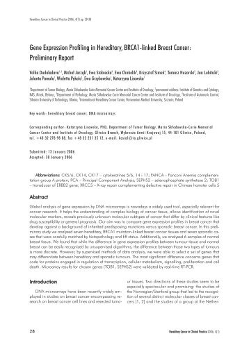 Gene Expression Profiling in Hereditary, BRCA1 ... - BioMed Central