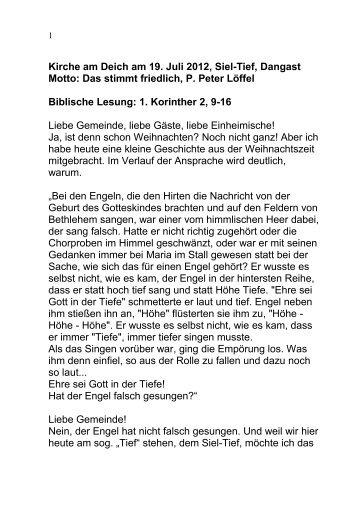 """19. Juli 2012: P. Peter Löffel: """"das stimmt friedlich"""""""
