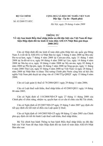 83/2009/TT-BTC - Cục Hải quan Đồng Nai