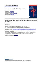 The China Quarterly Satisfaction with the Standard of Living in ...