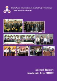 Annual Report, Academic Year 2009 - Sirindhorn International ...