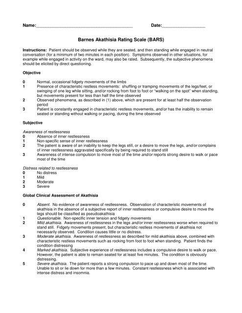 Barnes Akathisia Rating Scale (BARS)