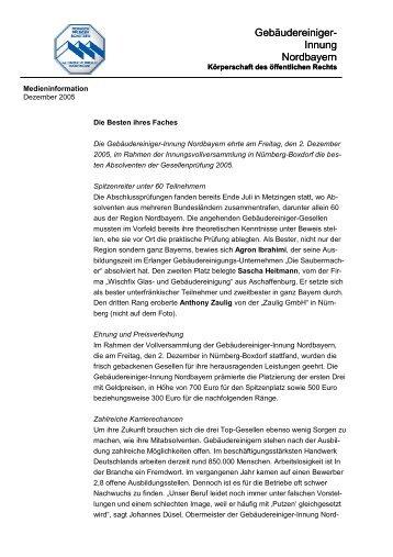 PM Innungsbeste - Gebäudereiniger-Innung Nordbayern