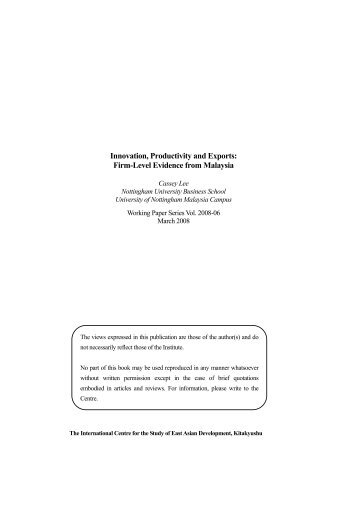 Innovation, Productivity and Exports: Firm-Level Evidence from ...