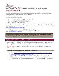 VeriSign ECA Pickup and Installation Instructions