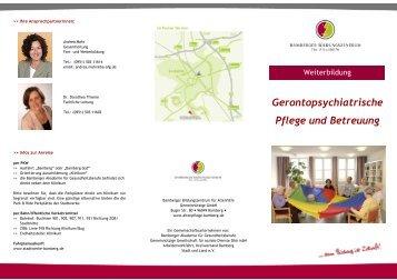 Weiterbildung Gerontopsychiatrische Pflege und Betreuung
