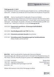 Agenda der Verbände - SBO-TCM