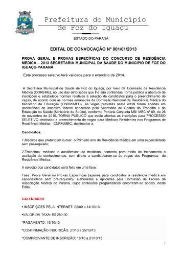 Prefeitura do Município de Foz do Iguaçu - Associação Médica do ...