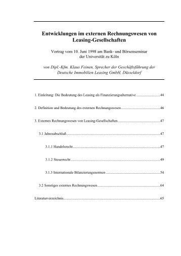 Entwicklungen im externen Rechnungswesen von Leasing ...
