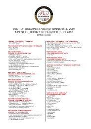A teljes lista - Best of Budapest