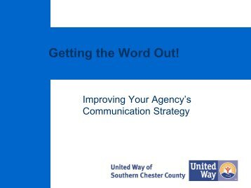 Improving your Agency's Communication Strategy - United Way