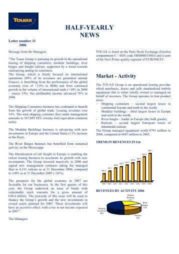Half-year information at 12/31/2006 - touax group