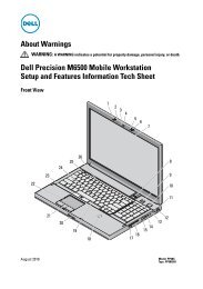 Dell Precision M6500 Mobile Workstation Setup and Features ...