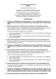 Die Tagesordnung der Hauptversammlung - TC ...