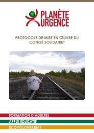 PROTOCOLE DE MISE EN ŒUVRE DU CONGÉ ... - Planète Urgence