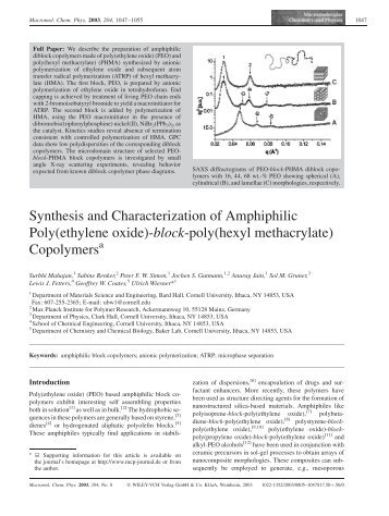 Synthesis and Characterization of Amphiphilic Poly ... - ResearchGate