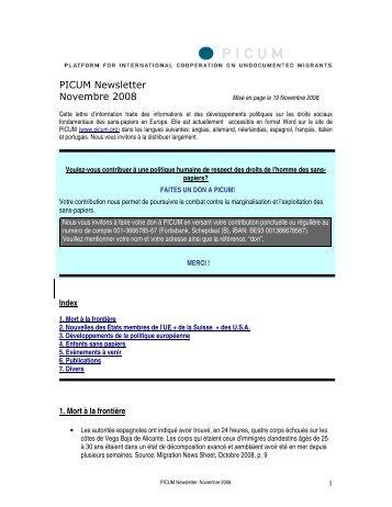 PICUM Newsletter Novembre 2008