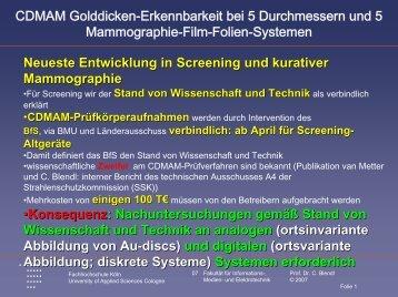 CDMAM Golddicken-Erkennbarkeit bei 5 Durchmessern und 5 ...