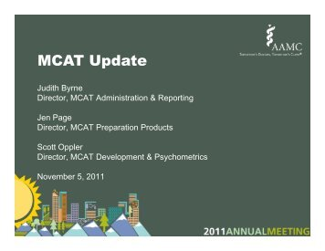 MCAT Update - AAMC's member profile