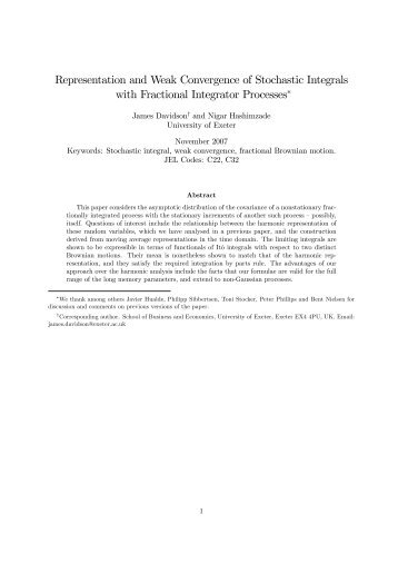 Representation and Weak Convergence of Stochastic Integrals with ...