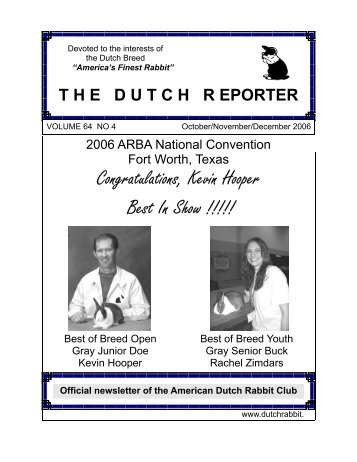 Oct Nov Dec 2006 Issue - American Dutch Rabbit Club