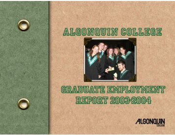 Graduate Employment Report 2003 – 2004 - Algonquin College