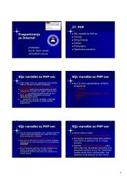 Programiranje za Internet 27. PHP SQL-naredbe sa PHP-om SQL ...