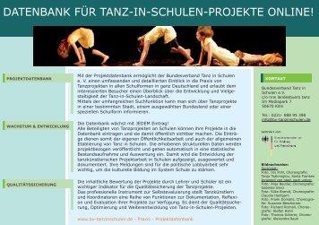 datenbank für tanz-in-schulen-projekte online! - bundesverband ...