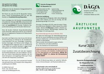 Flyer Grundkurse 2013 - bei der DÄGfA