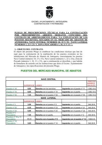 pliego de prescripciones técnicas - Ayuntamiento de Antequera
