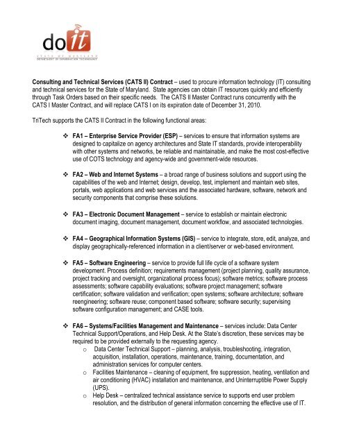 Consulting and Technical Services (CATS II) Contract – used to